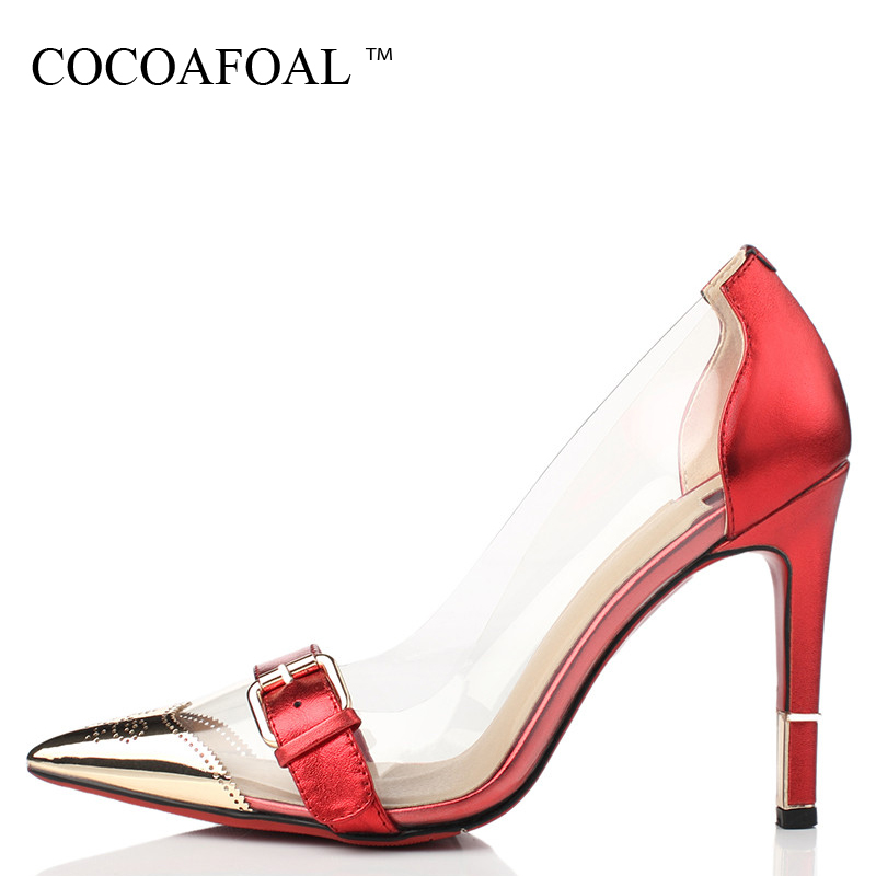 COCOAFOAL Woman Gold Clear Heels Shoes Fashion Sexy Transparent Heels Shoes  Plus Size 33 - 42 8710ded2e31f