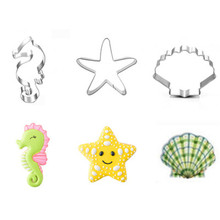 TTLIFE Seahorse Starfish Shell Stainless Steel Cookie Cutter Seabed Animal Pastry Fondant Cake Biscuit Mold Decorating Tool