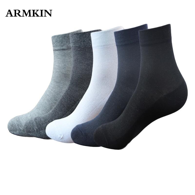 ARMKIN 5pairs/lot Casual Men Socks 100 Cotton Mesh Breathable Deodorization Business Crew Black White Socks Male Sport Socks