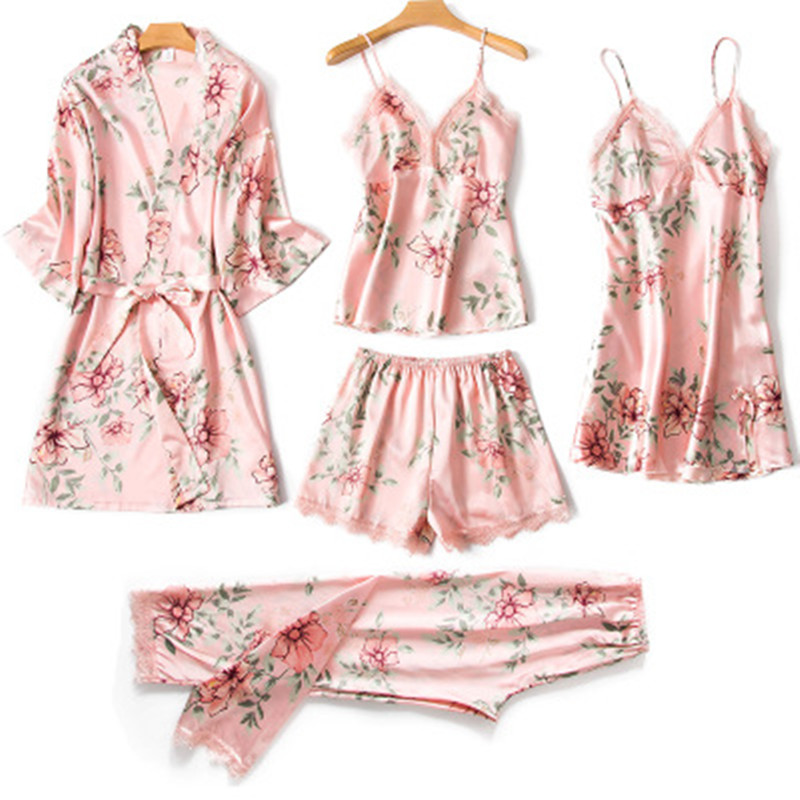 2019 Brand Silk   Pajamas     Set   Women Sexy Lace Print Flower Satin Pyjama Long Robe Pants Shorts 6Piece/  Set   Home Mom Sleepwear