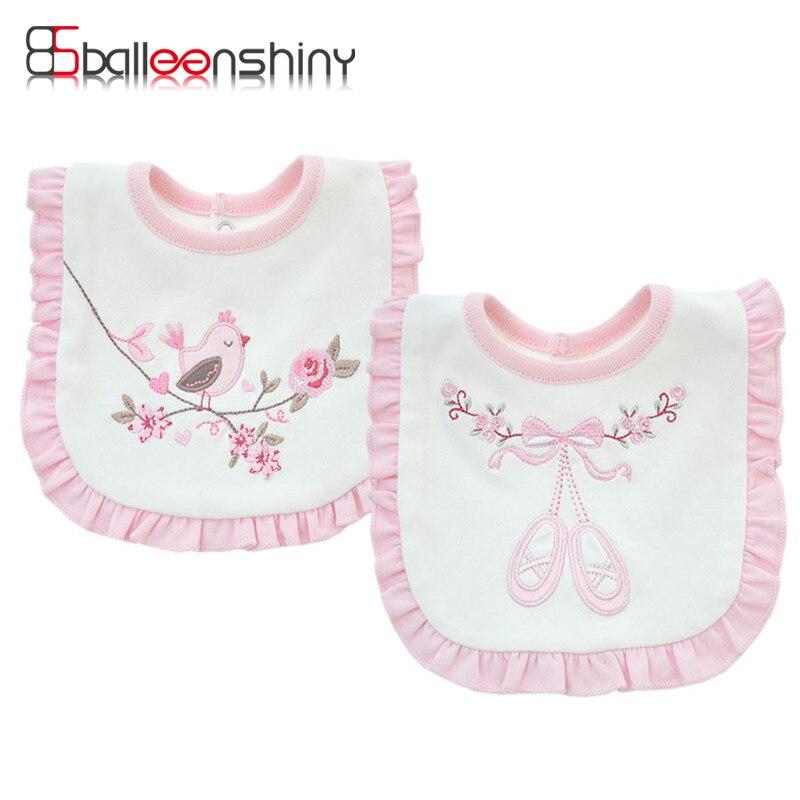 BalleenShiny/Хлопковые двухслойные милые детские нагрудники, Розовое Кружевное слюнявчик, полотенце для маленьких девочек и мальчиков, одежда для кормления малышей