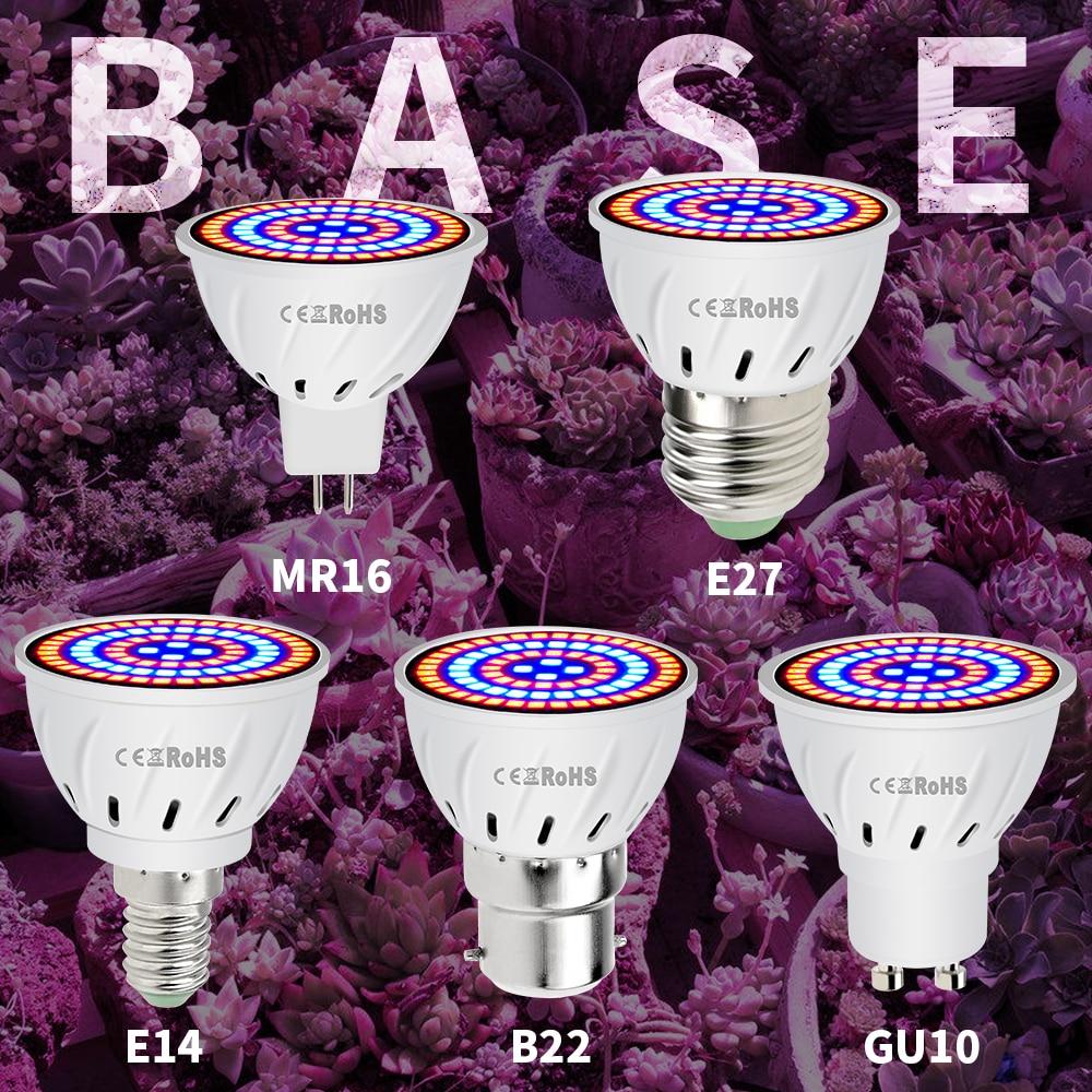 MR16 Grow Light SMD 2835 GU10 Fitolampy Full Spectrum LED Bulb E27 Greenhouse Phytolamp 48 60 80leds 220V E14 Led For Plants B22