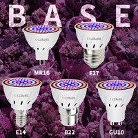 Luz de cultivo MR16 SMD 2835 GU10 fitolampy, bombilla LED de espectro completo E27, fitoamplificador de invernadero, 48, 60, 80Led, 220V, E14, B22