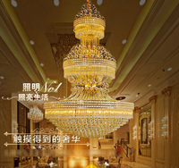 Gold Crystal Chandelier Lights Fixture American Modern Chandeliers LED Lamps Home Indoor Lighting Long Hanging Light