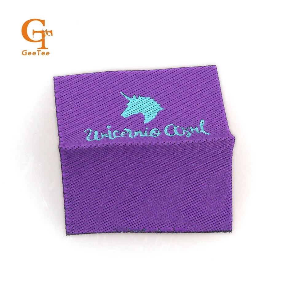 Etiquetas tejidas personalizadas/Logotipo/ropa impresa/bolsa/zapatos/sombrero etiqueta de costura etiqueta de cuidado bordado-in Etiquetas de ropa from Hogar y Mascotas    3