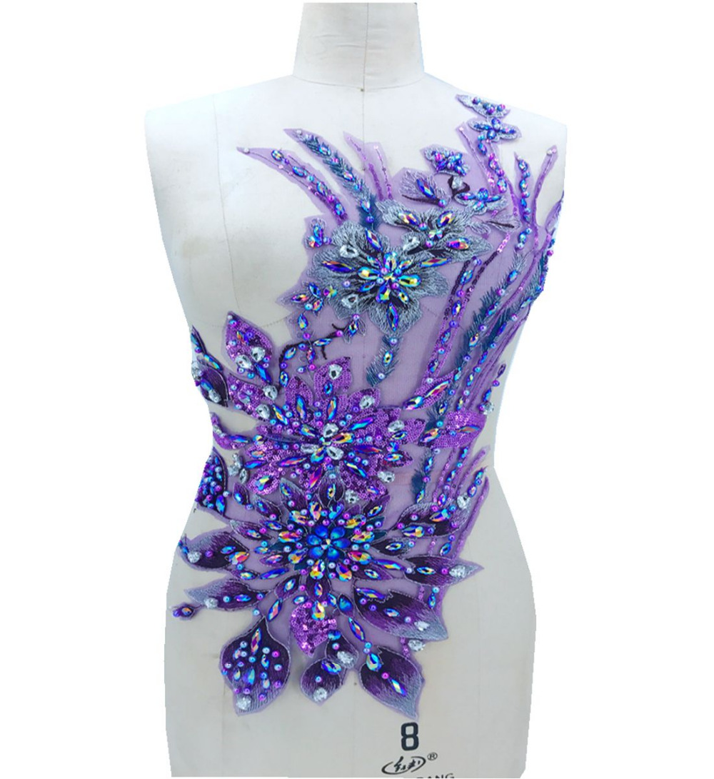 87ae2975aaa2 Flor tridimensional coser en diamantes de imitación perlas púrpura Apliques  de encaje trim parches 60 28 cm accesorio de vestido