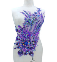 Three dimensional flower sew on rhinestones beads purple lace applique trim patches 60*28cm for dress accessory
