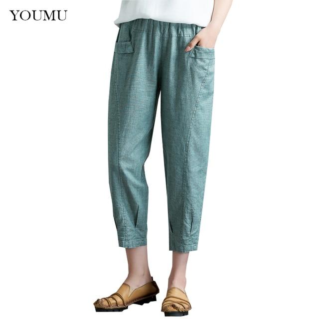 4bb0265a947 Summer Old Women Harem Pants Ankle-Length Cotton Linen Elastic Waist Solid  Plus Size L