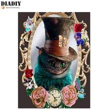 DIADIY 5D DIY Алмазная картина Wonderland полная квадратная Алмазная вышивка крестиком любовь Чеширский кот ручная вышивка подарок искусство