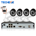 Techege 4CH 1080P 48V POE NVR 4PCS 1.0MP 720P Outdoor 1500TVL Waterproof IP66 POE IP Camera Xmeye P2P Video Surveillance System