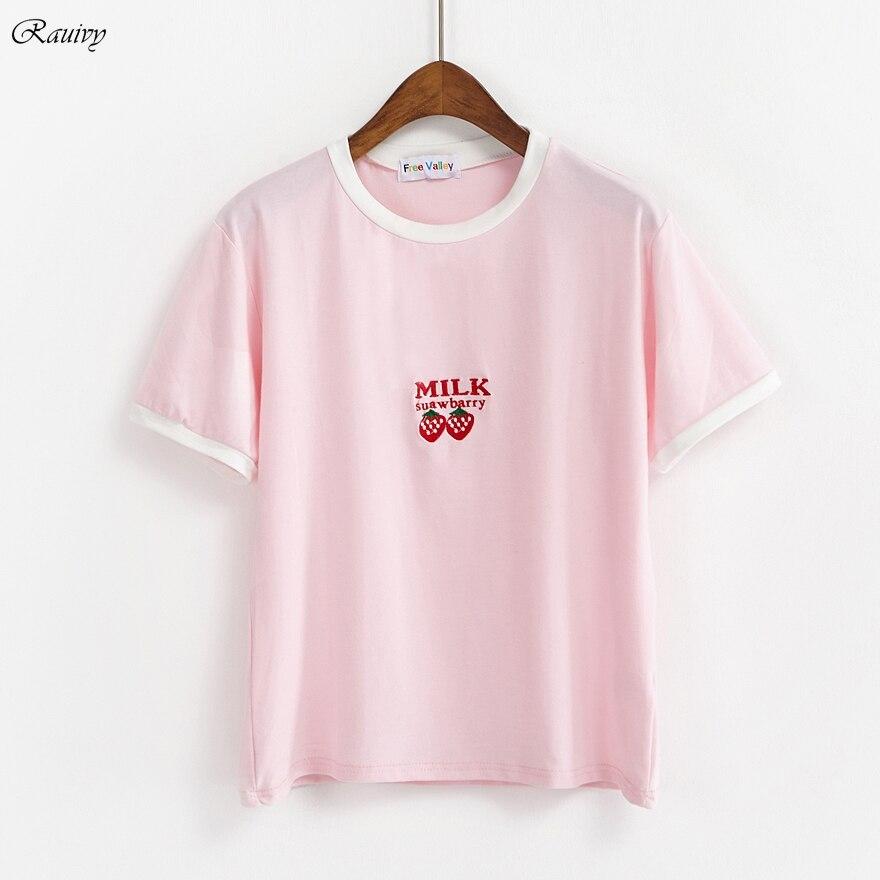 Bts t shirt mulheres 2018 harajuku moda verão coreano bonito retro bordado  leite morango banana plala alfabeto t shirt das mulheres em Camisetas de  Roupas ... ee7eda2255ba1