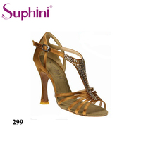 Free Shipping Woman Shoes Salsa 7.5cm Heel Nude Satin Salsa Dance Shoes Deep Tan /Multi Color High Heel Shoes