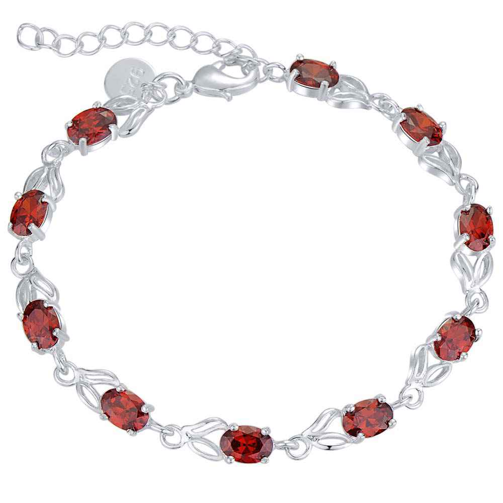 Disciplined Ah116 925 Free Shipping Silver Plated Bracelets For Women,wholesale Christmas Fashion Silver Jewelry Inlaid Red Stone Bangles Chain & Link Bracelets