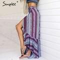 Simplee vintage boho imprimir dividir falda larga de verano 2017 suave algodón de alta cintura falda sirena Mujeres playa floja abrigo maxi falda
