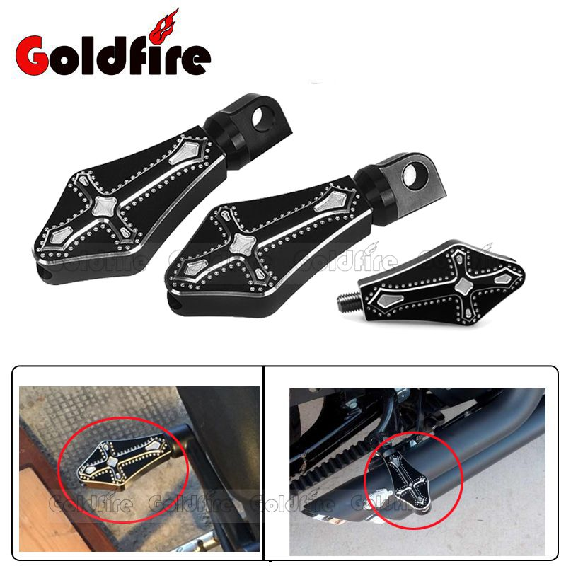 Motorcycle CNC 3D Cross Footrests Foot pegs + Shifter Peg For Harley XL 883 1200 48 Touring Sportster Dyna Softail 1 1 4 1 25 aluminum motorcycle short angled foot rest foot pegs pedals case for harley touring softail dyna sportster