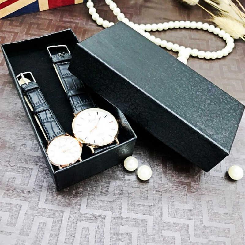 1 cái hình chữ nhật màu đen đồng hồ màu đen bao bì carton hộp quà tặng trang sức phụ kiện hộp