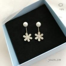 Sweet flower crystal stud earrings pearl two wearing back temperament jewelry
