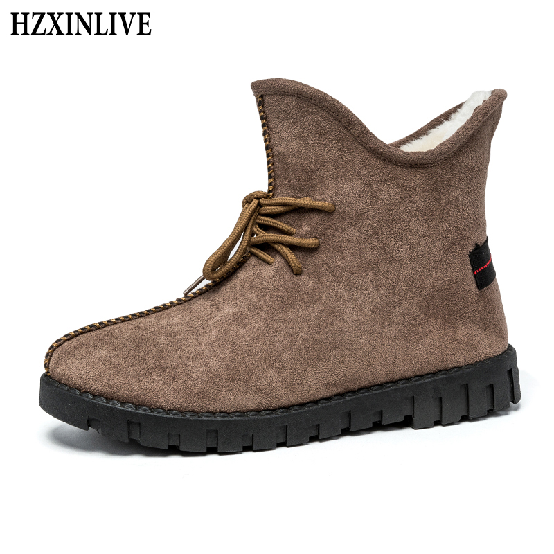 HZXINLIVE 2018 Winter New Design Women Ankle Boots Non-slip Warm Snow Boots Casual Fashion Lace-Up Shoes Plush Booties Woman недорго, оригинальная цена