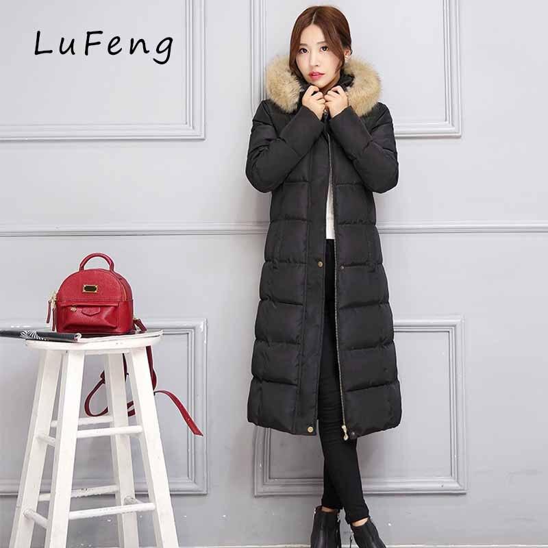 Winter Jacket Women Black Long Coats Parka Fur Collar Hood 2017 Ladies Warm Casacos Camperas Manteau Femme Hiver LF197-621 цены онлайн