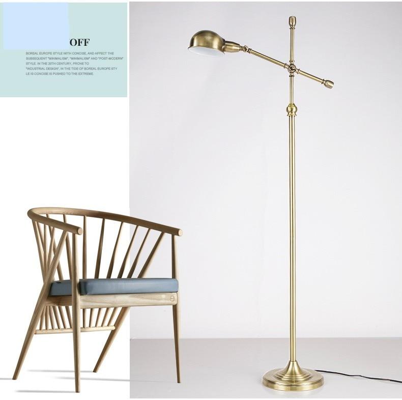 high quality luxury industrial wind floor lamp american style floor lamp nordic brief vintage copper vertical