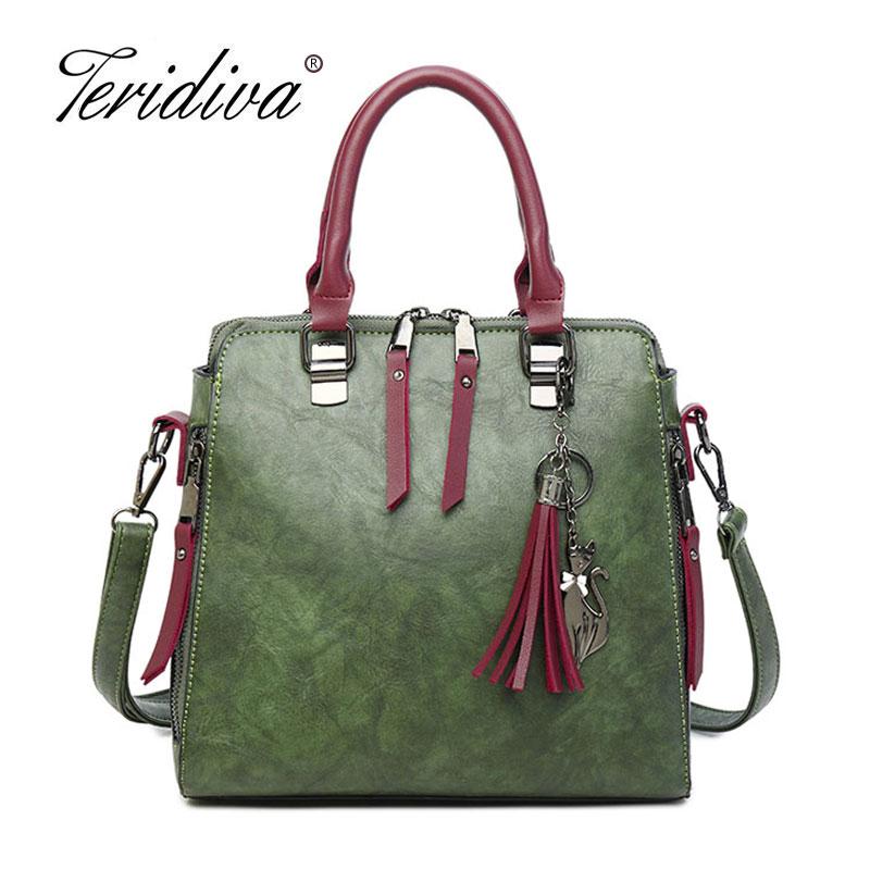 Teridiva Women Handbags Large Capacity Tote Bag Tassel Bags Green Female Shoulder Bags Shell Vintage Messenger Crossbody Purse цена