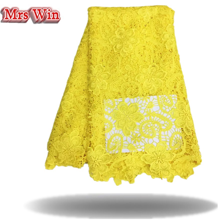 2018 Hot Sale free Shipping New Arrival African Guipure Cord Lace Fabric,chemical Fabric Swiss Voile High Quality yellow lace