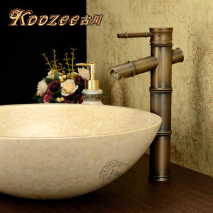 Furukawa européen classique rétro unique poignée unique trou chaud et froid tout-cuivre vert bronze brossé antique table bassin fau