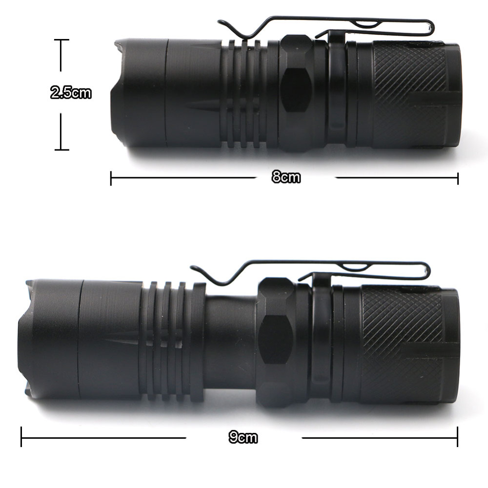 4000 Lumens Flashlight LED Torch Flash Light Camping Light Outdoor Lighting Zoomable mini Flashlight For 16340 Battery