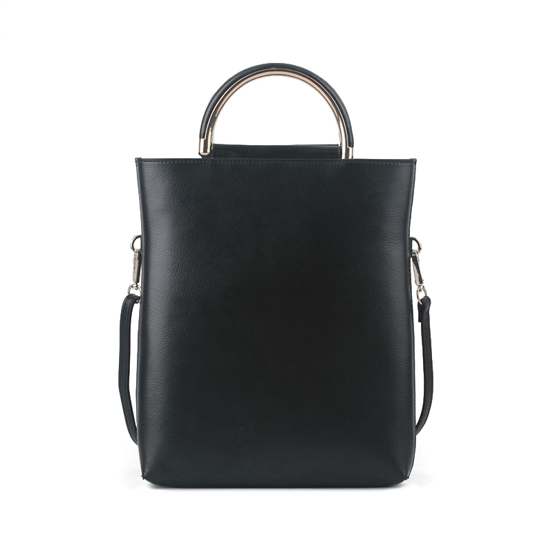 Brand Women Soft Leather Portable Bag Office Lady Becket Vertical Tote Bag Solid Casual Top-Handle Bag Metal Ring Shoulder Bag