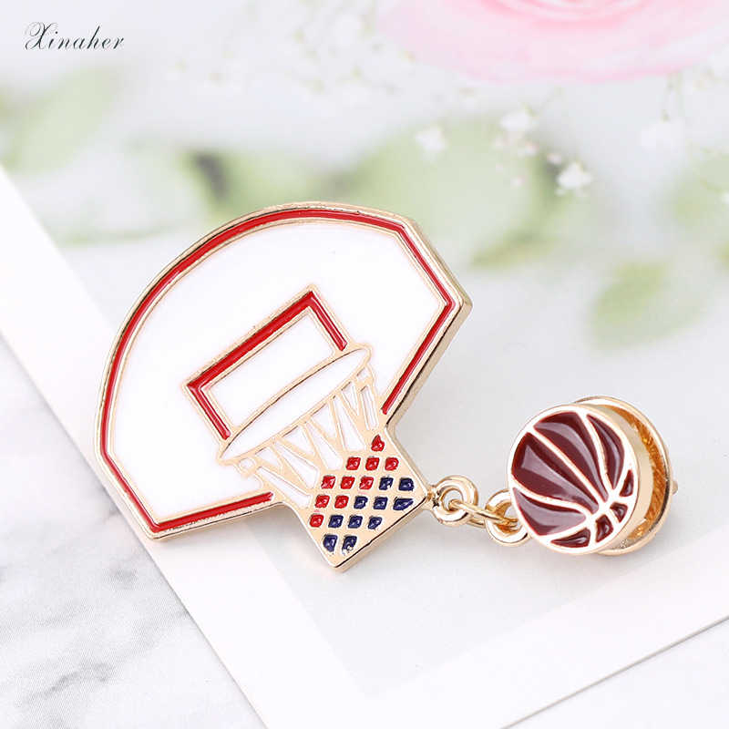 XINAHER 1 pc cute basketball frame metal brooch button pins denim jacket pin jewelry decoration badge for clothes lapel pins