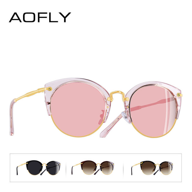 AOFLY Fashion Polarized Sunglasses Women Brand Designer Vintage Retro Cat Eye Sunglasses Female Half Frame Style Glasses A121 3