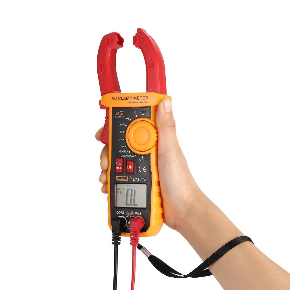 SZBJ BM818 Digital DC/AC metro de la abrazadera del multímetro de voltios amperios Ohm de NCV capacitancia de no contacto amperímetro probador