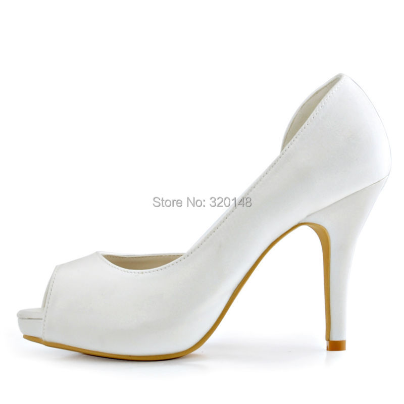 Femmes chaussures mariage blanc ivoire talons hauts pompes Satin plate-forme nuptiale mariage talons bal robe pompes dames mariée HP1560I