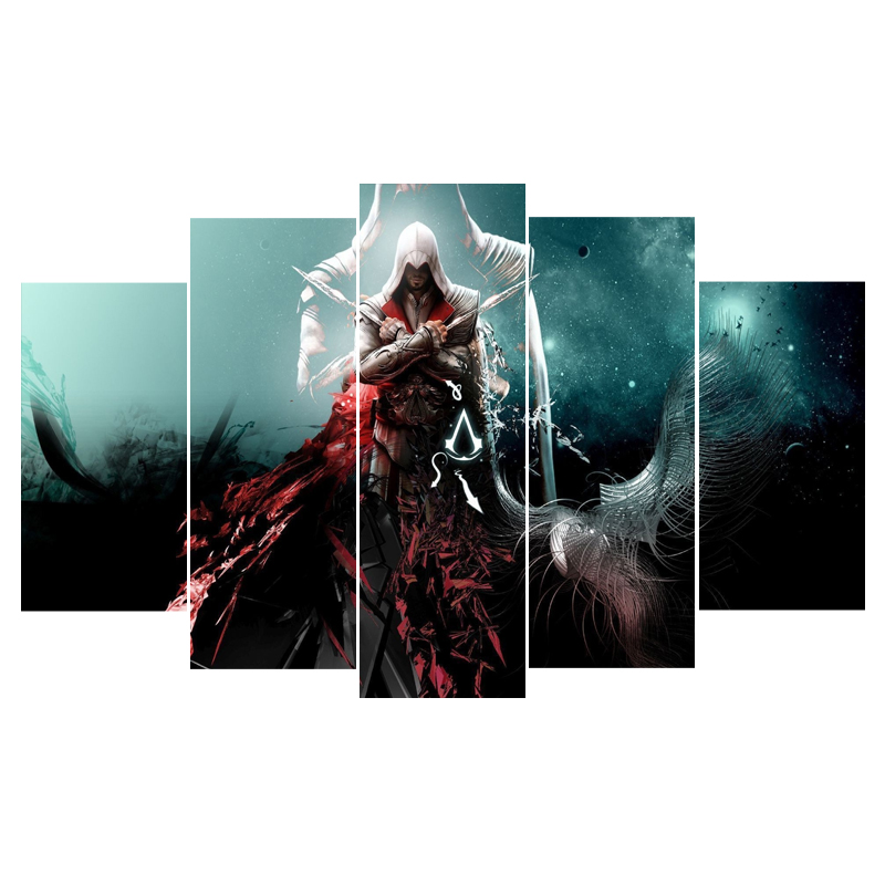 Wall Art Canvas Painting Poster 5 Panel Movie Assassins Creed ...