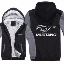 Ford Mustang Hoodies Jacket Winter Mans Unisex Casual Wool Liner Fleece Man Coat Mustang 50 Years Sweatshirts Pullover(China)