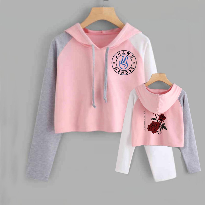 Shawn Mendes Cropped Hoodie Women Long Sleeve Short Sweatshirt With Hood Ladies Hip Hop Pullover Tops Female