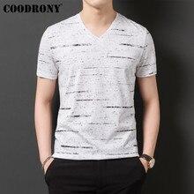 цена на COODRONY T Shirt Men Streetwear Striped V-Neck Tshirt Short Sleeve T-Shirt Men Clothes 2019 Summer Cotton Tee Shirt Homme S95132