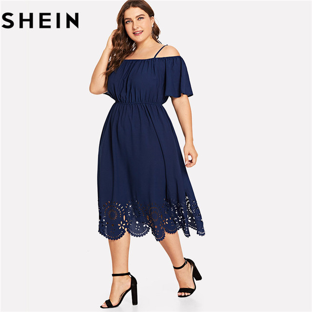 42eaeae462793 SHEIN Navy Elegant Off The Shoulder Ruffle High Waist Plus Size Women Dress  Scalloped Hem Knee-Length Office Lady Solid Dresses