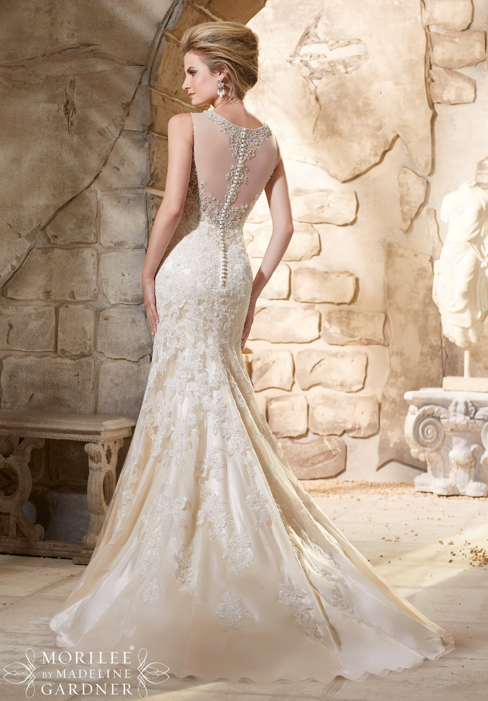 Heavy Beaded Custom Made Elegant Lace Wedding Dress See Through Mermaid  Bride Dresses Robe De Marriage Gown 2015-in Wedding Dresses from Weddings    Events ... f2f105571814