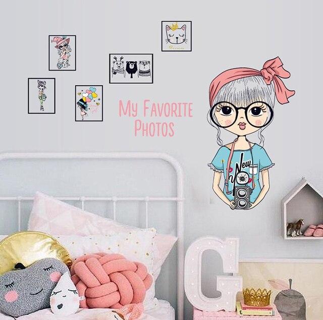 Big glasses girl frame wall stickers home decor girls room diy ...