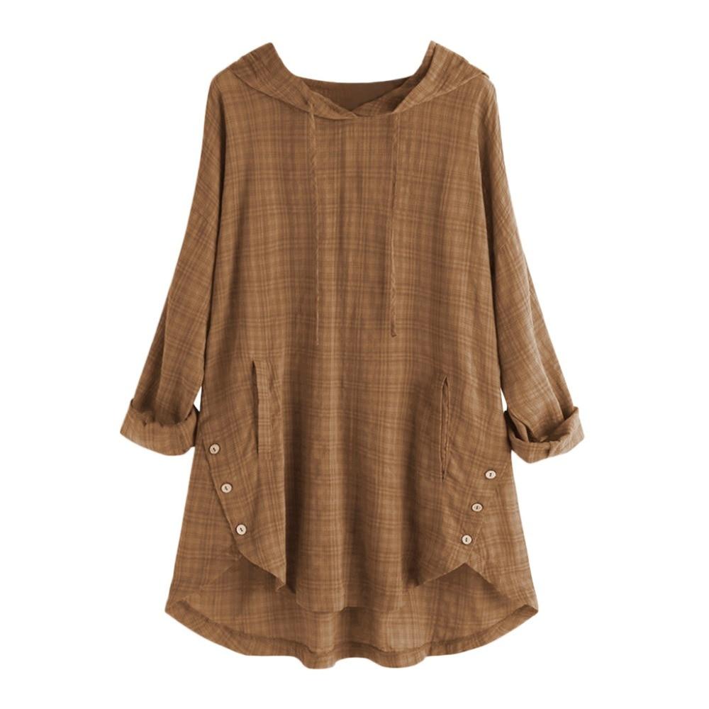 6933de630 New Fashion Women 2019 Casual Linen Plaid Button Hooded Tshirt High Low  Kaftan Baggy Button Plus Size Shirts With Pokcets Tops