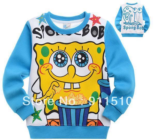 New fashion Sale 2pcs/lot cotton Children spongebob jackets autumn and winter coat animal cartoon print outerwearFREE SHIPPING