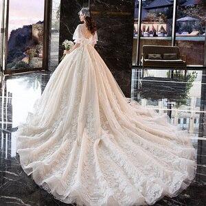 Image 4 - Wedding Dress For Pregnant Woman Vintage V Neck Robe Mariee Princesse Embroidery Applique Pattern Boho Chic Wedding Dress TS869