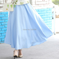 Free Shipping Blend Linen Long Skirt Spring Summer Skirts Chinese Style Bohemian Sky Blue Skirts Casual