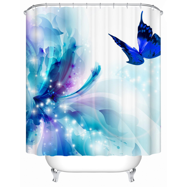 CHARMHOME New Fabric Shower Curtain Blue Butterfly High Quality Curtains Waterproof Bathroom