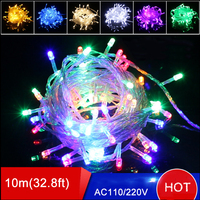 10pcs Holiday LED String Lights Christmas Tree Decoration 10M 100Led Neon Bulbs Party Wedding RGB AC220V