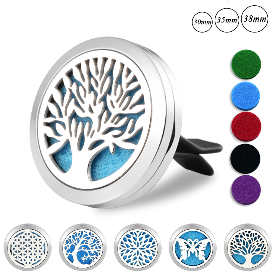 Tree of Life Car Scent Perfume Essential Oil Diffuser Locket 316L Stainless Steel Auto Outlet Air Freshener Fragrance Vent Clip