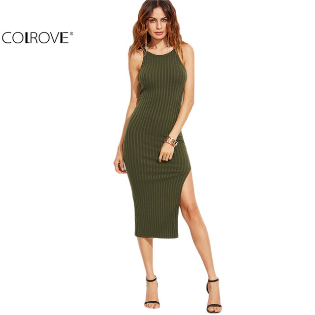 Colrovie Для женщин пикантные odycon Cami Dress зима-осень 2017 Для женщин осень модные дизайнерские с боковыми Ribbed Midi платье