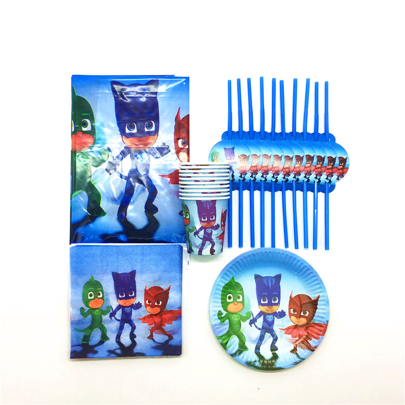 51PClot Kids Favors Pj Masks Paper Cup Plates Baby Shower Glass Decoration Tablecloth Napkins Birthday Straw Party Supplies