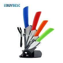 """4 farbe kochen werkzeuge küchenmesser set 3 """"4"""" 5 """"6"""" zoll + Peeler + Acryl halter block keramische messer schälmesser freies verschiffen"""